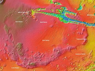 A map of Mars that includes the unusually high elevation region Louisiana State University researchers are studying called Thaumasia Planum. Image credit: Wikimedia.