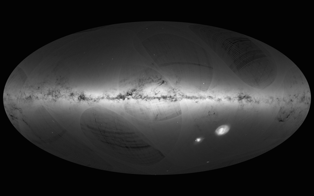 Gaia's first map of the Milky Way, as well as the Small and Large Magellanic Clouds. Image: ESA/Gaia/DPAC.