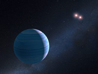 This artist's impression shows a gas giant planet circling the two red dwarf stars in the system OGLE-2007-BLG-349, located 8,000 light-years away. The planet — with a mass similar to Saturn — orbits the two stars at a distance of roughly 480million kilometres (300million miles). The two red dwarf stars are a mere 11million kilometres (7million miles) apart. Illustration credit: NASA, ESA, and G. Bacon (STScI).