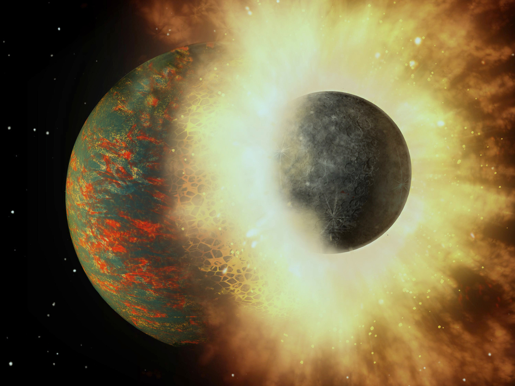 The ratio of volatile elements in Earth's mantle suggests that virtually all of the planet's life-giving carbon came from a collision with an embryonic planet approximately 100million years after Earth formed. Image credit: A. Passwaters/Rice University based on original courtesy of NASA/JPL-Caltech.