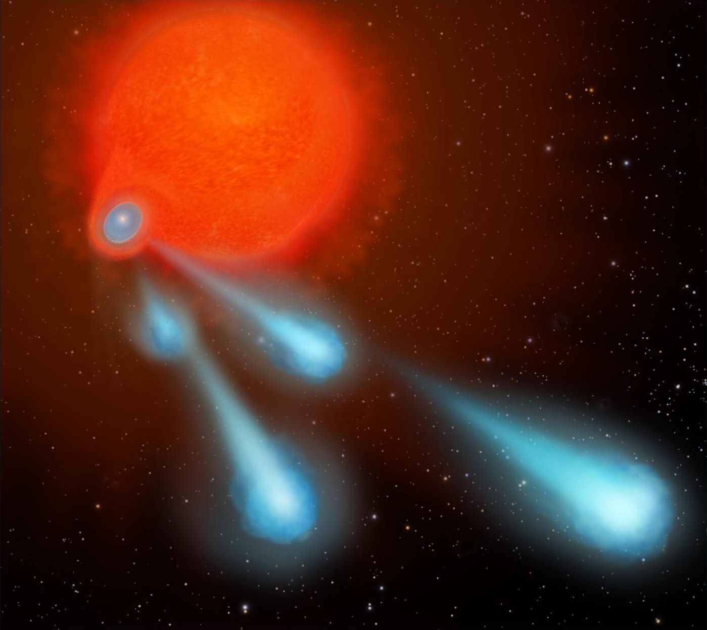 4) This ejection process is repeated every eight years, which is the time it takes for the orbiting star to make another pass through the bloated red giant's envelope. Illustration credit: NASA, ESA, and A. Feild (STScI).