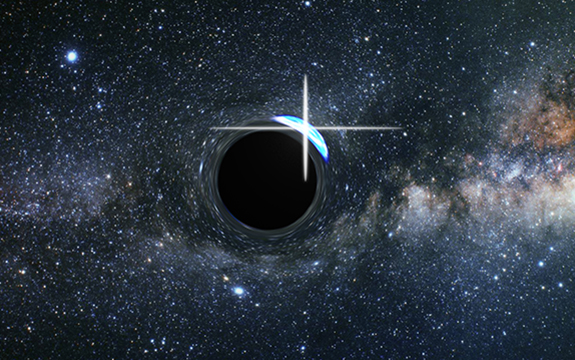 Artist's impression of a flare from a star partly behind a black hole. Image credit: James Josephides, Swinburne University of Technology.