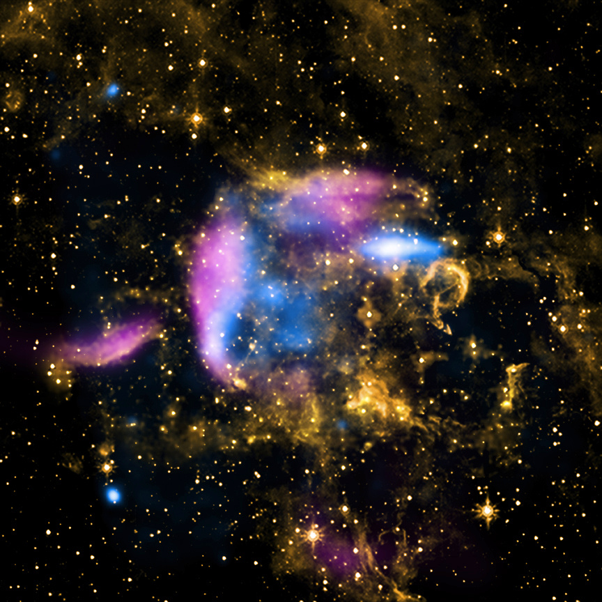 Astronomers estimate that a supernova explosion should occur about every 50years on average in the Milky Way galaxy. The object known as CTB37A is a supernova remnant located in our Galaxy about 26,000 light-years from Earth in the constellation of Scorpius. This image shows that the debris field glowing in X-rays (blue) and radio waves (pink) may be expanding into a cooler cloud of gas and dust seen in infrared light (orange). Image credit: X-ray: NASA/CXC/Morehead State Univ/T.Pannuti et al; Radio: Molonglo Obs. Synthesis Tel.; Infrared: NASA/JPL-Caltech.