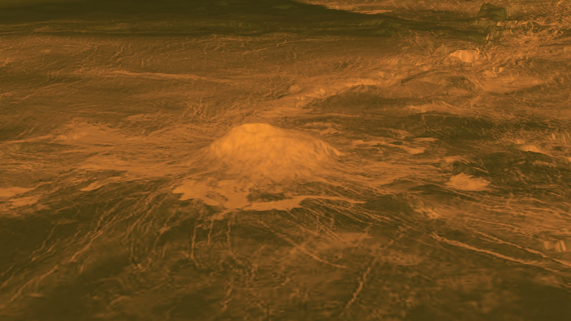 This figure displays an elevation model of Idunn Mons (46 S; 146 W), a volcano with a diameter of 200kilometres (124miles) located at Imdr Regio on Venus. Image credit: NASA/JPL-Caltech/ESA.