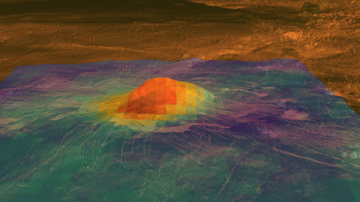 This figure displays an elevation model of Idunn Mons (46S; 146 W), overlain on VIRTIS emissivity anomaly. In red, the areas characterised by recent volcanic activity. Image credit: NASA/JPL-Caltech/ESA.