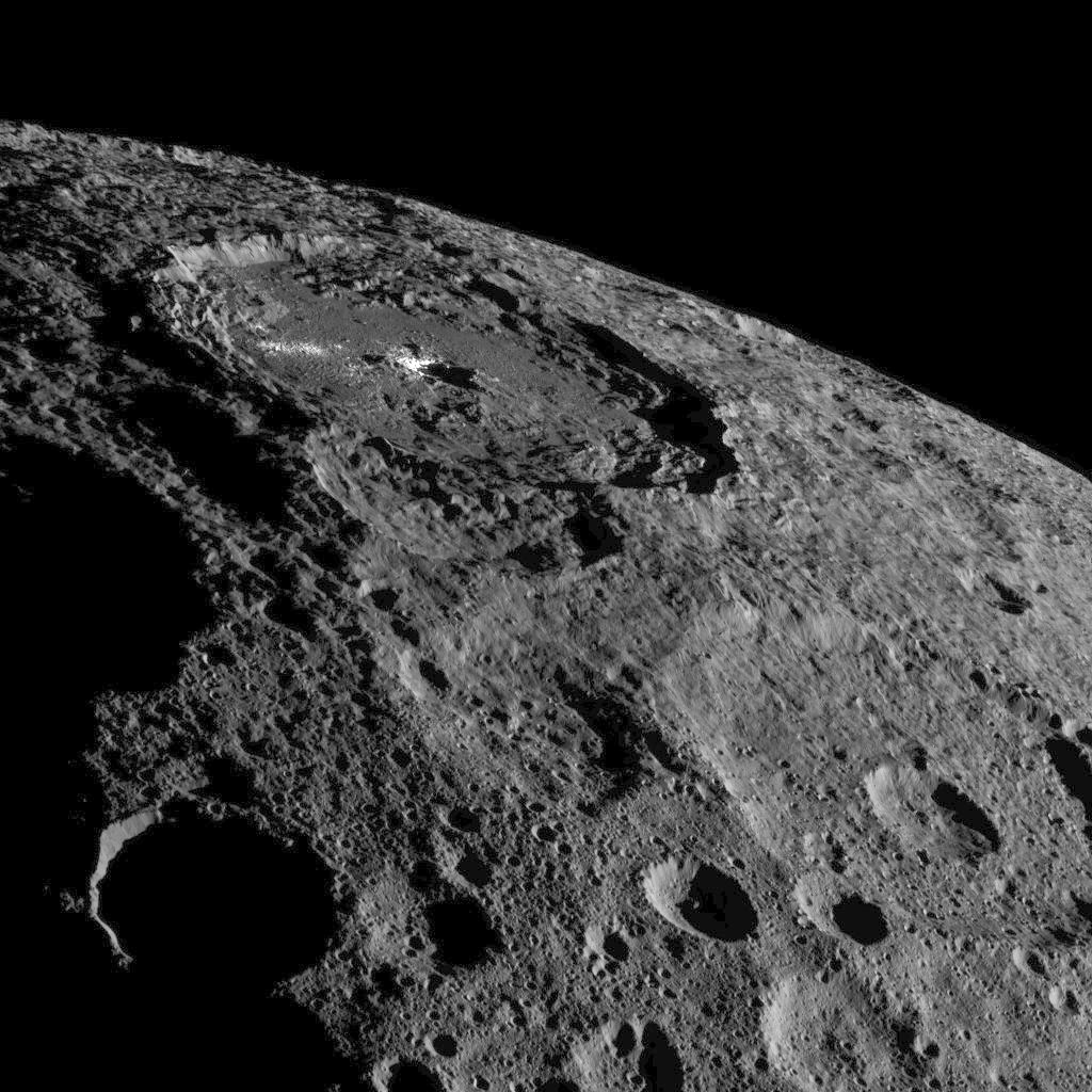 Occator Crater, some 57miles across and home of Ceres' intriguing brightest areas, is prominently featured in this image from NASA's Dawn spacecraft. Click the picture for a full-size version. Image credit: NASA/JPL-Caltech/UCLA/MPS/DLR/IDA.