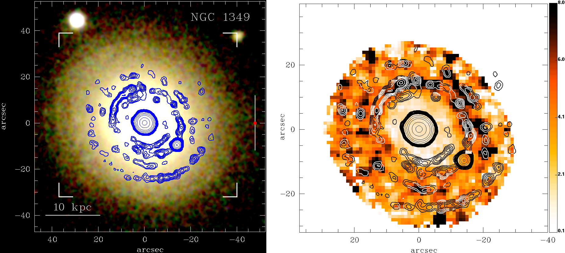"""Figure 2: True colour image of galaxy NGC1349, overlaid with contours depicting the spiral-like star-forming regions (left). """"Intensity"""" of the Equivalent Width in H-alpha in galaxy NGC1349, overlaid with contours depicting the spiral-like star-forming regions. Illustration credits: Gomes et al. (2016)."""