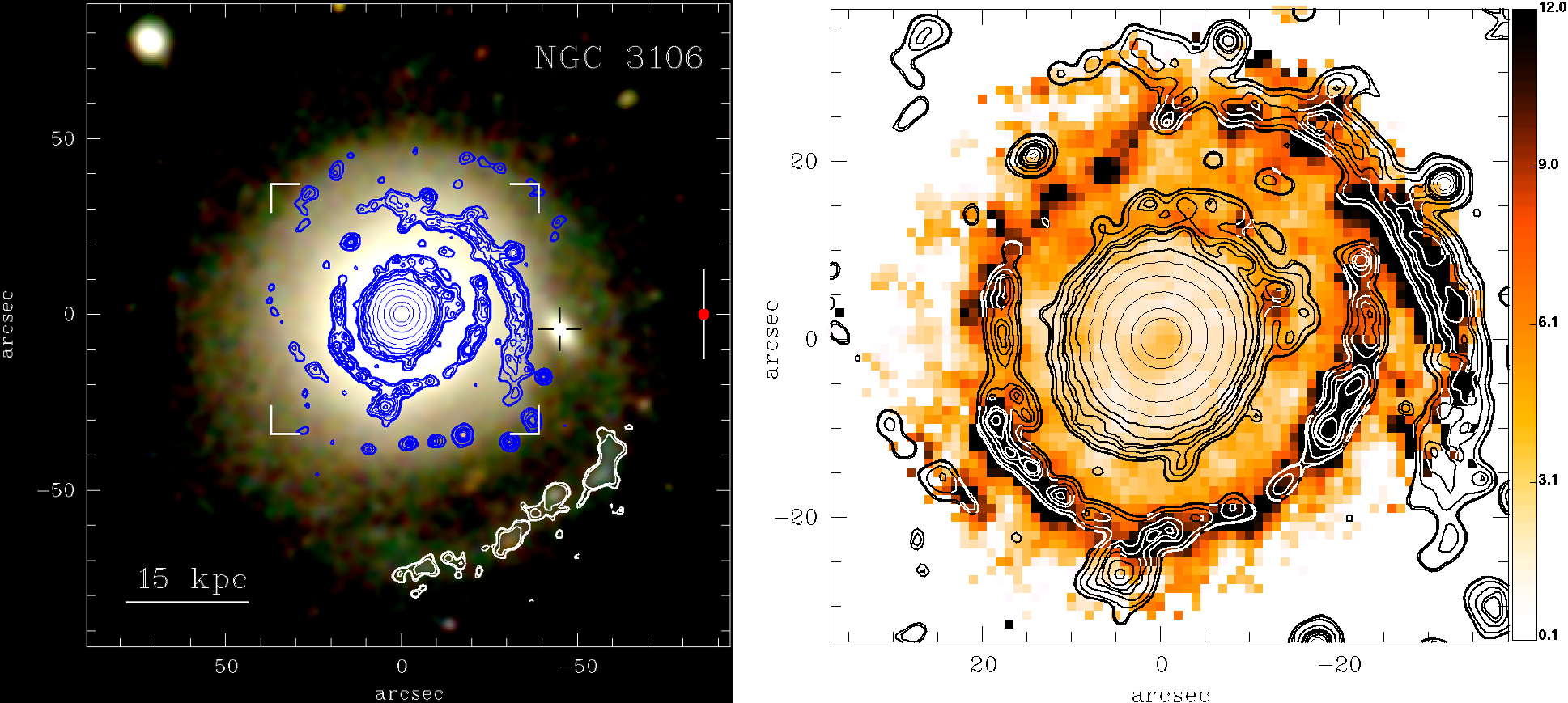 """Figure 3: True colour image of galaxy NGC3106, overlaid with contours depicting the spiral-like star-forming regions (left). """"Intensity"""" of the Equivalent Width in H-alpha in galaxy NGC3106, overlaid with contours depicting the spiral-like star-forming regions. Illustration credits: Gomes et al. (2016)."""