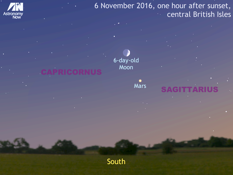 Observers in the UK with a clear sky one hour after sunset on 6November 2016 should look low in the southern sky to see magnitude +0.4 planet Mars just 5degrees to the lower right of the six-day-old crescent Moon. The pair will fit in the same field of view of a low-power binocular. For scale, this aspect is 40degrees wide, or roughly twice the span of an outstretched hand at arm's length. The Moon's size has been enlarged for clarity. AN graphic by AdeAshford.