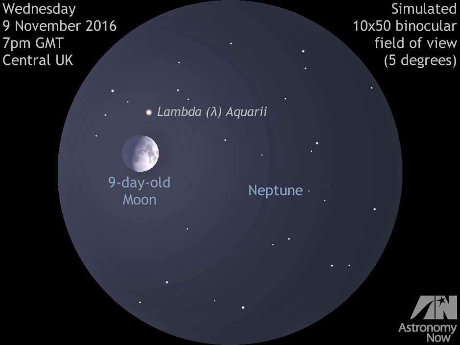 UK observers with a clear sky around 7pmGMT on Wednesday 9November should look in the south-southeast to see the waxing gibbous nine-day-old Moon just 2½degrees degrees away from outermost planet Neptune in the constellation of Aquarius. In this simulated five-degree-wide 10×50 binocular view, note that the brightest object in the field aside from the Moon and Neptune is third-magnitude star lambda (λ) Aquarii. Stars to ninth-magnitude are shown (Neptune is magnitude +7.9), but these will be hard to see unless one nudges the Moon just out of the field of view. AN graphic by Ade Ashford.