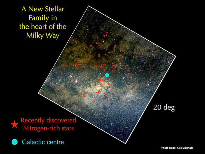 The image above shows a visible picture of the inner 20degrees of the Milky Way as seen from Earth (for comparison, the Moon is roughly ½ a degree on the sky). This part of the sky is extremely crowded due to the high density of the central regions of the Galaxy as well as the presence of many stars between Earth and the Galactic centre. Dark patches are due to absorption of visible light by dense dust clouds. Overall, the absorption by dust is largest in the centre than anywhere else in the Galaxy. The cyan circle shows the location of the Galactic centre, and the red stars indicate the positions of the stars newly discovered by APOGEE. Many of them coincide with regions of high dust absorption, which explains why APOGEE, observing in the infrared, was the first to detect the existence of this new stellar family. Image credit: Liverpool John Moores University, Alex Mellinger.