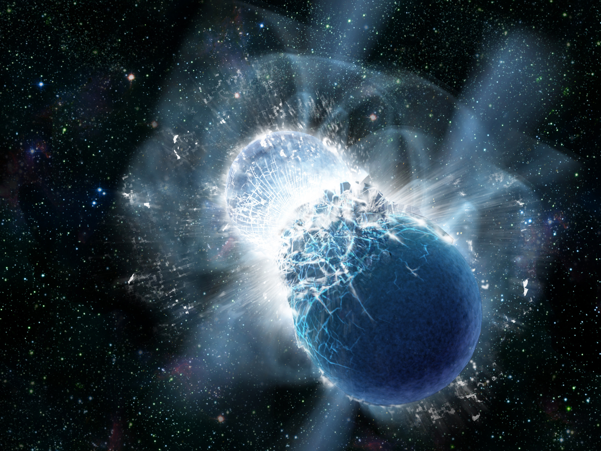 This artist's impression depicts a powerful cosmic event that might have produced the fast radio burst FRB131104. Binary-neutron-star mergers occur when two neutron stars spiral together and merge, forming a black hole. Image credit: Dana Berry, Skyworks Digital.