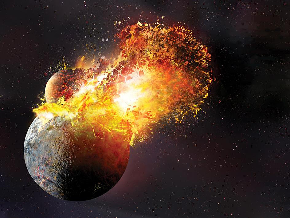 The giant-impact theory suggests that the Moon formed out of the debris left over from a collision between Earth and an astronomical body the size of Mars, sometimes called Theia, about 20 to 100million years after the solar system coalesced approximately 4.5billion years ago. Image credit: Dana Berry. Source: Robin Canup, SwRI.