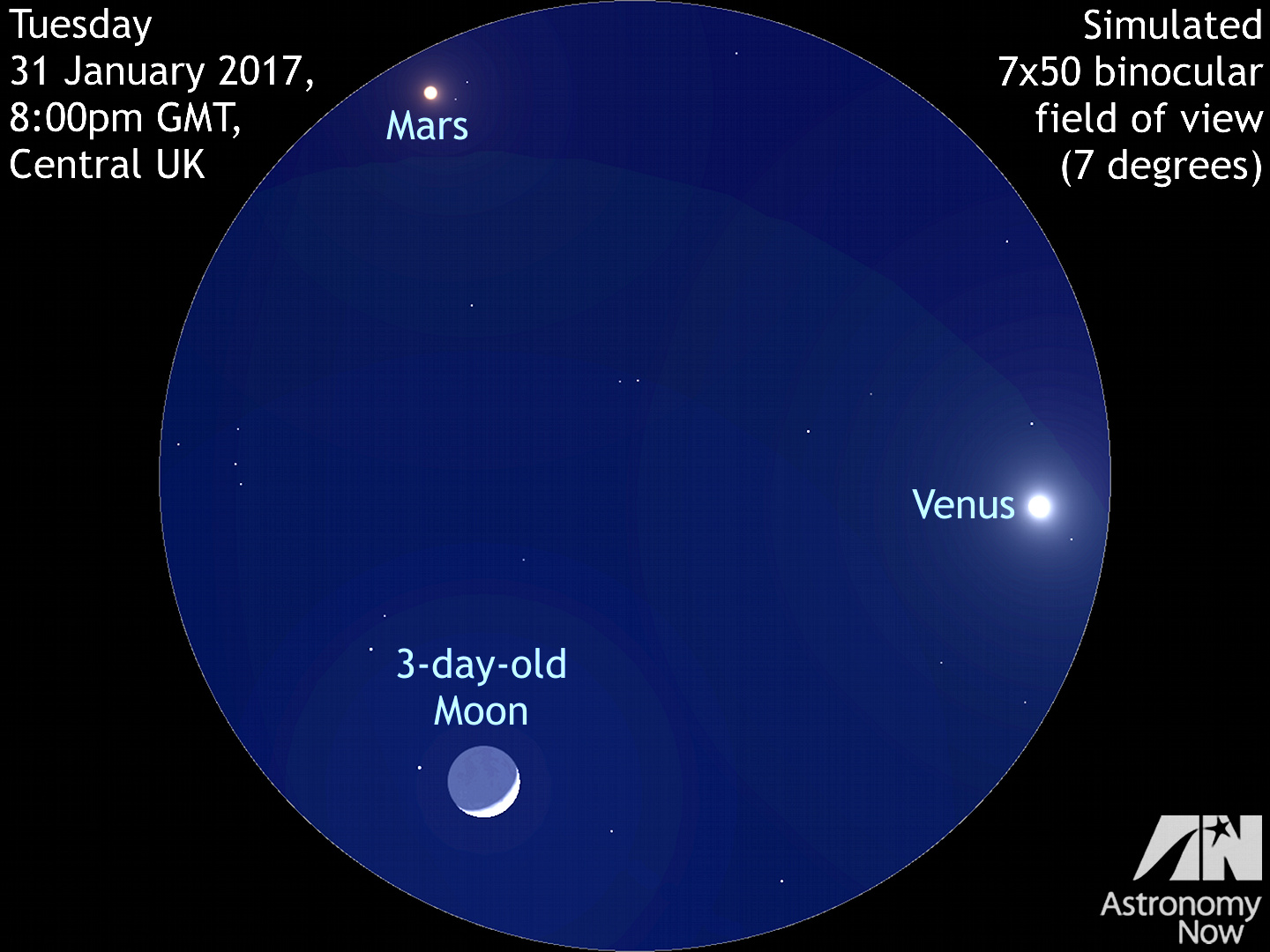 Moon swept by Venus in the night sky