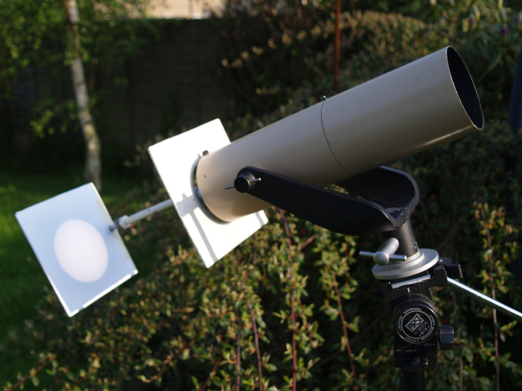 Viewing the Sun by projecting its image through a telescope onto card is the safest way to see the eclipse. Image: Steve Ringwood.
