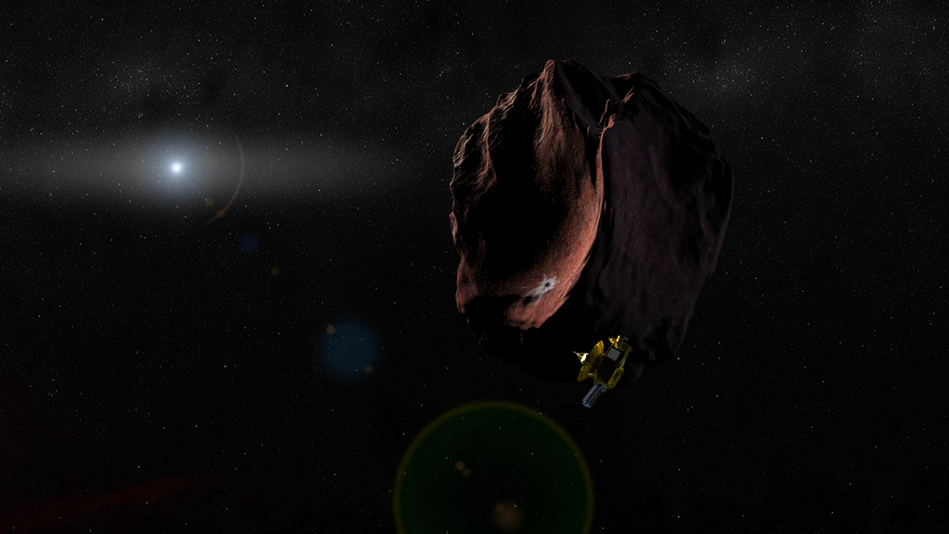 Artist's concept of the New Horizons spacecraft encountering a Kuiper Belt Object. Credit: NASA/Johns Hopkins University Applied Physics Laboratory/Southwest Research Institute