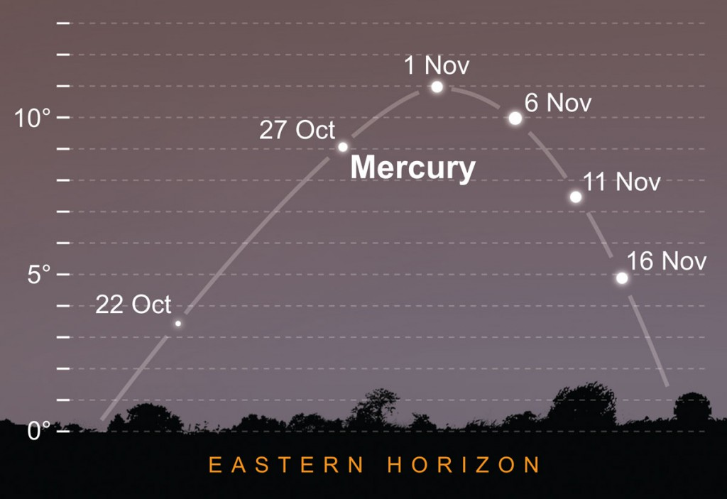 Mercury climbs high in the morning sky. AN Graphic by Greg Smye-Rumsby.