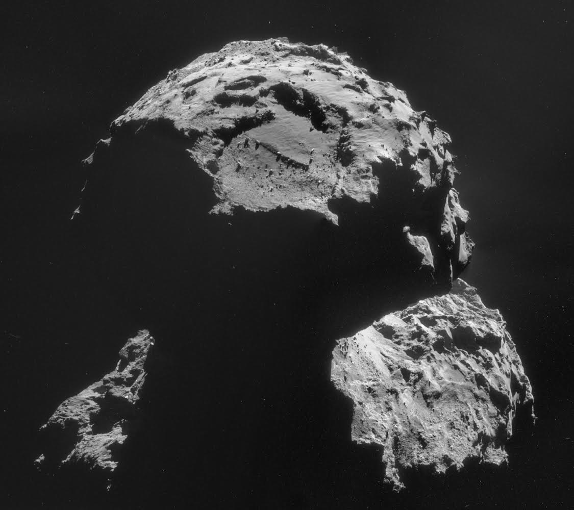 Philae's target — named Agilkia — is seen above the boulder-filled depression near the top of this image of comet 67P/Churyumov-Gerasimenko. Image credit: ESA/Rosetta/NAVCAM