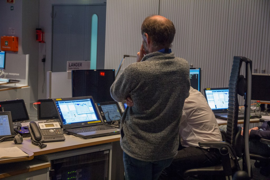 In the control room, mission managers kept watch on the dwindling battery power as Philae slowly shutdown. Image: Steven Young/Astronomy Now.