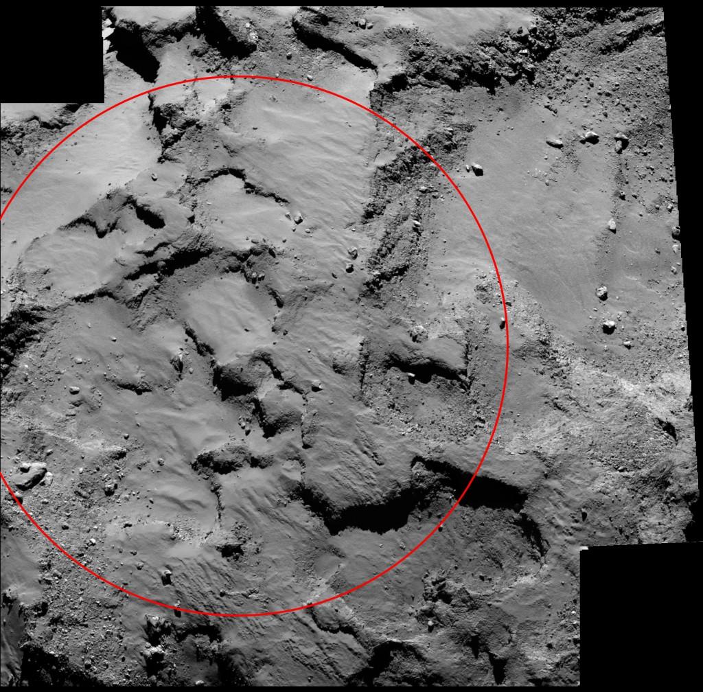 Close-up of the region containing Philae's primary landing site. Image: ESA/Rosetta/MPS for OSIRIS Team MPS/UPD/LAM/IAA/SSO/INTA/UPM/DASP/IDA.