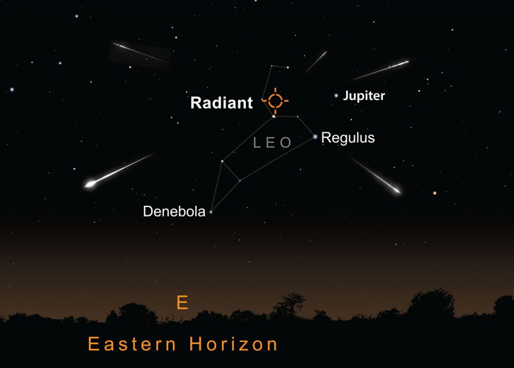 Look east to view the Leonids meteor shower. This is the view at 3am on the 18 November. AN graphic by Greg Smye-Rumsby.