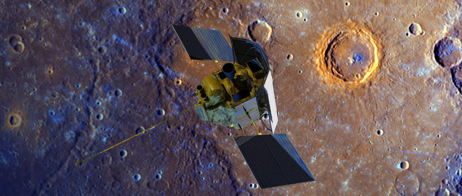 A depiction of the MESSENGER spacecraft is shown flying over Mercury's surface displayed in enhanced colour. The crater ringed by bright orange is named Calvino. The enhanced colour imagery of the planet was obtained during the mission's second Mercury flyby in 2008. Image credit: NASA/Johns Hopkins University Applied Physics Laboratory/Carnegie Institution of Washington