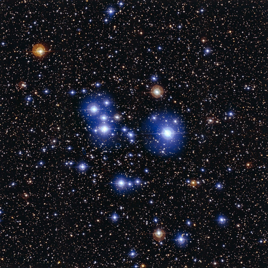 This spectacular image of the star cluster Messier 47 was taken using the Wide Field Imager camera, installed on the MPG/ESO 2.2-metre telescope at ESO's La Silla Observatory in Chile. This young open cluster is dominated by a sprinkling of brilliant blue stars but also contains a few contrasting red giant stars. Image credit: ESO