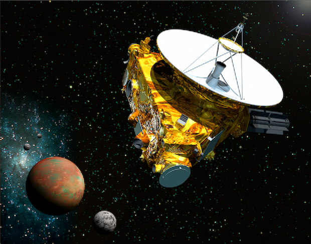 Artist's concept of the New Horizons spacecraft approaching Pluto and its moon Charon. Credit: JHUAPL/SwRI