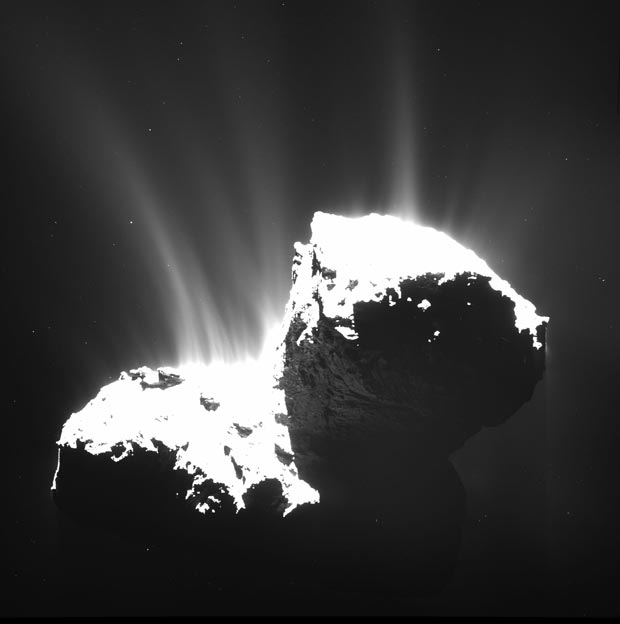 OSIRIS wide-angle camera image acquired on 22 November 2014 from a distance of 30 km from Comet 67P/Churyumov-Gerasimenko. The image resolution is 2.8 m/pixel. The nucleus is deliberately overexposed in order to reveal the faint jets of activity. Image: ESA/Rosetta/MPS for OSIRIS Team MPS/UPD/LAM/IAA/SSO/INTA/UPM/DASP/IDA