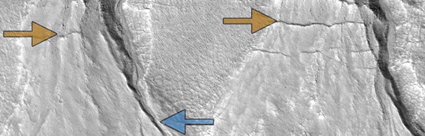 Sharp-featured, relatively recent gullies (blue arrow) and degraded older gullies (gold) in the same location on the surface of Mars suggest multiple episodes of liquid water flow, consistent with cyclical climate change on the Red Planet. Image credit: NASA HiRISE