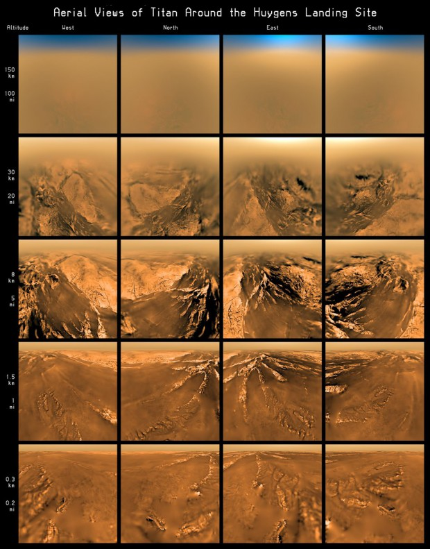 Aerial views of Huygens' landing site, taken by the probe as it floated down through Titan's atmosphere. Image: ESA/NASA/JPL/University of Arizona.