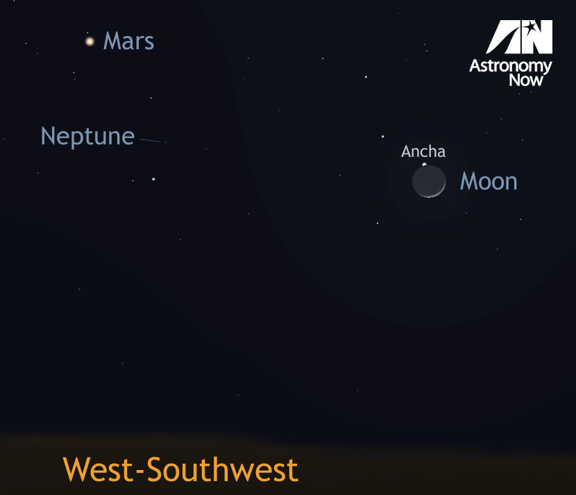 Observers in the west of the UK and the Republic of Ireland are best placed to see the occultation of 4th magnitude star Theta (θ) Aquarii tonight shortly after 7:15pm GMT — an event visible in binoculars. AN graphic by Ade Ashford