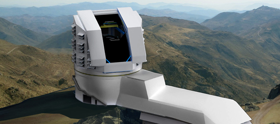Rendering of the LSST observatory atop Cerro Pachón in Chile. When LSST starts taking images of the entire visible southern sky in 2022, it will produce the widest, deepest and fastest views of the night sky ever observed. Over a 10-year time frame, LSST will image several tens of billions of objects and create movies of the sky with unprecedented detail. Image credit: Large Synoptic Survey Telescope Project Office