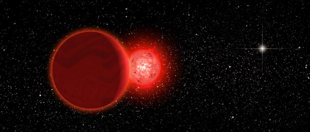 Artist's conception of Scholz's Star and its brown dwarf companion (foreground) during its flyby of the Solar System 70,000 years ago. The Sun (right, background) would have appeared as a brilliant star. The pair is now about 20 light-years away. Image credit: Michael Osadciw/University of Rochester.