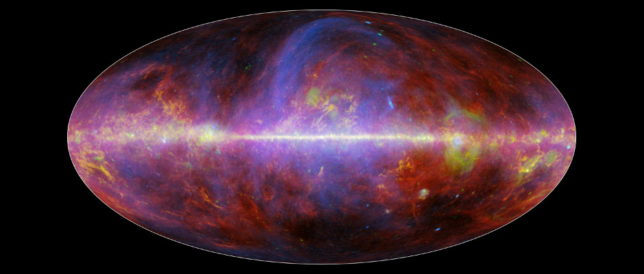 A festive portrait of our Milky Way galaxy shows a mishmash of gas, charged particles and several types of dust. The composite image comes from the European Space Agency's Planck mission, in which NASA plays an important role. It is constructed from observations made at microwave and millimetre wavelengths of light, which are longer than what we see with our eyes. Image credit: ESA/NASA/JPL-Caltech