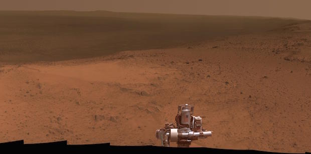 "A view from the top of ""Cape Tribulation"" by the Opportunity Mars rover. The craft arrived at the summit of the ridge in early January. Credit: NASA/JPL-Caltech/Cornell Univ./Arizona State Univ."