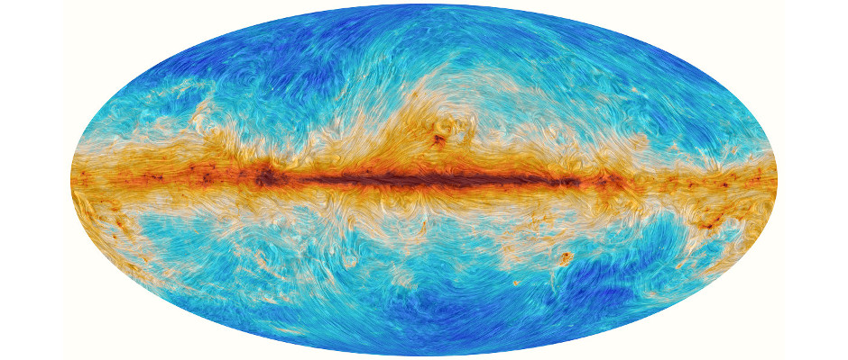 The interaction between interstellar dust in the Milky Way and the structure of our Galaxy's magnetic field, as detected by ESA's Planck satellite over the entire sky. Planck scanned the sky to detect the most ancient light in the history of the Universe — the cosmic microwave background. It also detected significant foreground emission from diffuse material in our Galaxy which is extremely important for studying the birth of stars and other phenomena in the Milky Way. Image credit: ESA and the Planck Collaboration