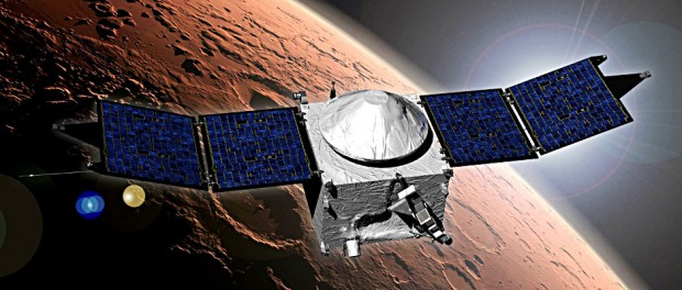 This image shows an artist concept of NASA's Mars Atmosphere and Volatile Evolution (MAVEN) mission. Image credit: NASA's Goddard Space Flight Center