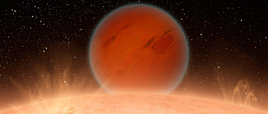 Artist's impression of a hot Neptune-sized planet orbiting a star beyond our Sun. Image credit: NASA/JPL-Caltech