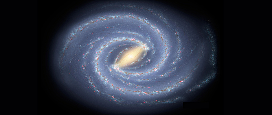 The newfound young star clusters lie thousands of light-years below the plane of our Milky Way galaxy, a flat spiral disc seen in this artist's conception. If alien lifeforms were to develop on planets orbiting these stars, they would have views of a portion, or all, of the galactic disk. Image credit: NASA/JPL-Caltech