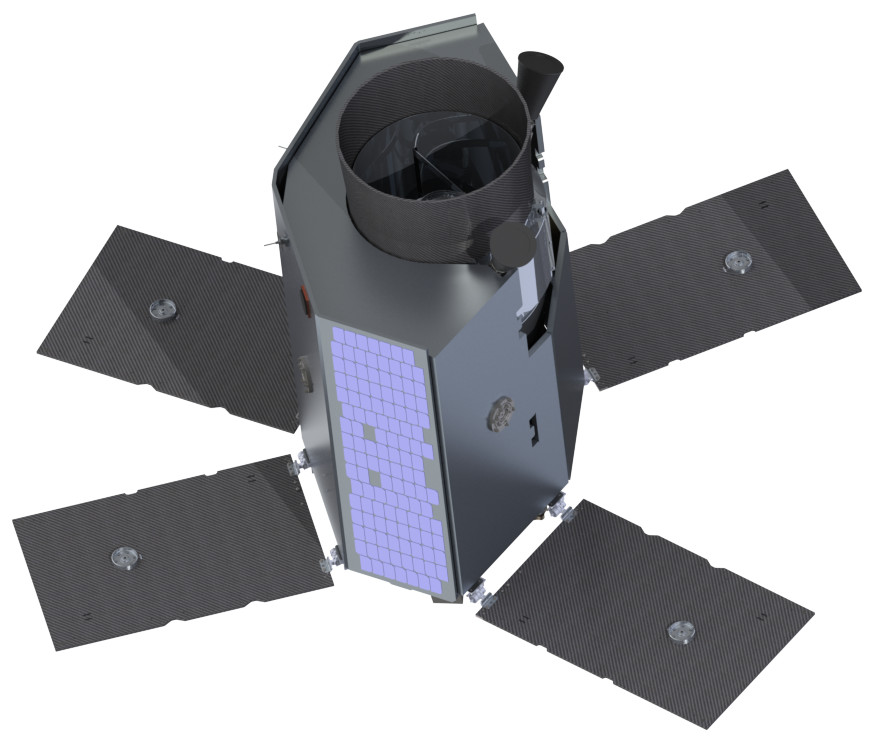 Rendering of the Twinkle mission spacecraft, which will be built by Surrey Satellite Technology Ltd. Image credit: Twinkle/SSTL