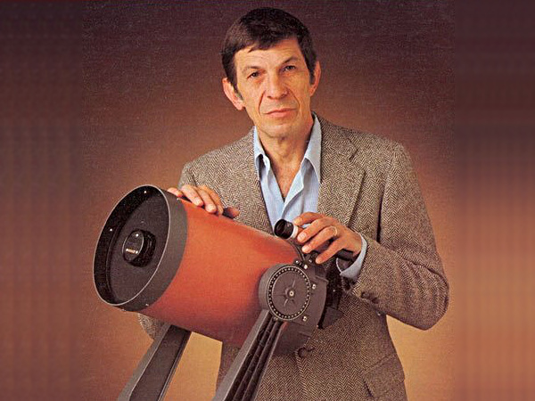 Those of us of a certain age can recall the late Leonard Nimoy (1931-2015) appearing in magazine adverts promoting the Celestron C8 Schmidt-Cassegrain telescope. Image credit: Celestron