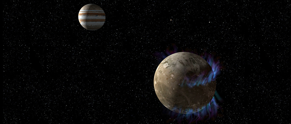 This is an artist's concept of the moon Ganymede as it orbits the giant planet Jupiter. NASA's Hubble Space Telescope observed aurorae on the moon that are controlled by Ganymede's magnetic fields. Two auroral ovals can be seen over northern and southern mid-latitudes. Hubble measured slight shifts in the auroral belts due to the influence of Jupiter's own immense magnetic field. This activity allows for a probe of the moon's interior. The presence of a saline ocean under the moon's icy crust reduces the shifting of the ovals as measured by Hubble. As on Earth, Ganymede's aurorae are produced by energetic charged particles causing gases to fluoresce. Illustration credit: NASA, ESA, and G. Bacon (STScI)