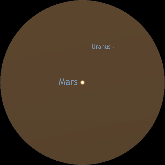 This is a simulated telescopic view of Mars and Uranus at 50x magnification around 7 pm on 11th March. Under average skies, Uranus may be a challenge to glimpse just ¼° away from Mars — much depends on the quality of your optics, too. This orientation of Uranus with respect to Venus assumes a Newtonian telescope with an inverted view on an alt-azimuth mount; with an equatorial mount, Uranus will lie above Mars in such a telescope. In a refractor, Schmidt-Cassegrain or Maksutov telescope with a star diagonal, Uranus will lie below Mars. AN graphic by Ade Ashford