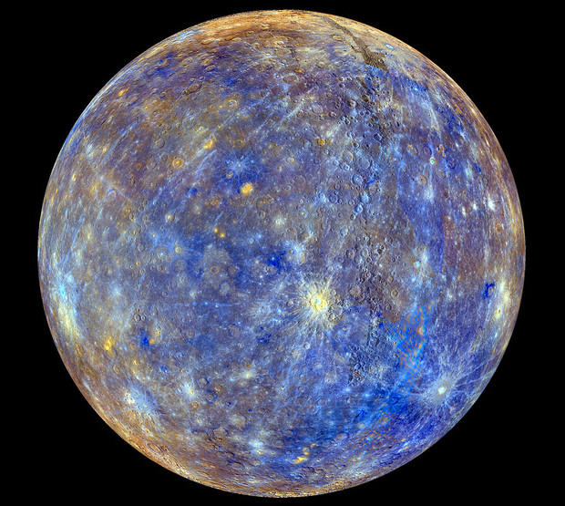 This colourful view of Mercury was produced by using images from the colour base map imaging campaign during MESSENGER's primary mission. These colours are not what Mercury would look like to the human eye, but rather the colours enhance the chemical, mineralogical, and physical differences between the rocks that make up Mercury's surface. Image credit: NASA/Johns Hopkins University Applied Physics Laboratory/Carnegie Institution of Washington