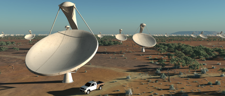 Artist's impression of the antennas within the central core of the Square Kilometre Array (SKA). Image credit: SKA Project Development Office and Swinburne Astronomy Productions