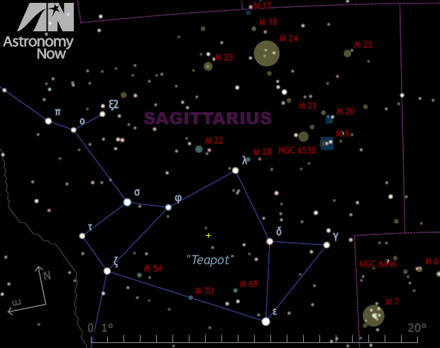 The yellow cross marks the spot of John Seach's nova in the 'teapot' asterism of Sagittarius. Current estimates put it at magnitude +5.3. While the region is currently a challenge to see low to the south-southeast horizon around 4:30amBST from the British Isles, Southern Hemisphere observers can see it soon after 11pm local time. AN graphic by Ade Ashford