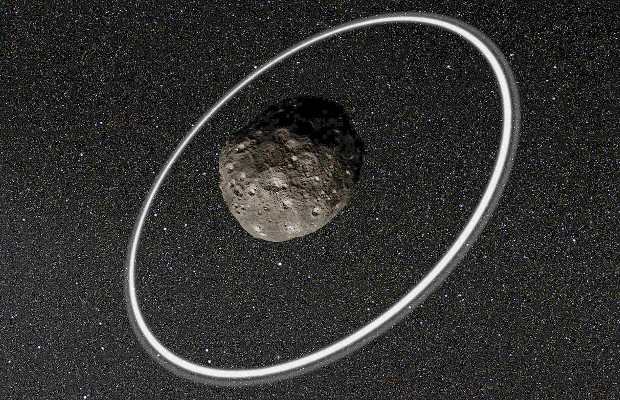 This artist's impression of remote asteroid Chariklo — the fifth body in the Solar System found to possess rings after the much larger planets Jupiter, Saturn, Uranus and Neptune — is now joined by a sixth: 2060 Chiron (also known as 95P/Chiron), the first-known member of the centaurs, with an orbit between Saturn and Uranus. Image credit: ESO/L. Calçada/M. Kornmesser/Nick Risinger (skysurvey.org)