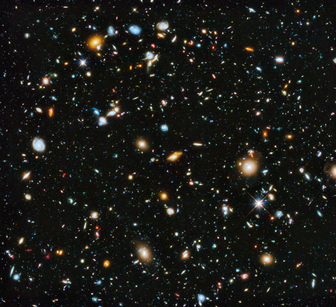Hubble's Ultra-Deep Field image (full range of ultraviolet to near-infrared light) – made from 841 orbits of telescope viewing time – contains approximately 10,000 galaxies, including some of the most distant galaxies to have been imaged by an optical telescope, and extending back in time to within a few hundred million years of the Big Bang. Click the image for a full-screen version. Image credit: NASA, ESA, H. Teplitz and M. Rafelski/IPAC/Caltech, A. Koekemoer/STScI, R. Windhorst/Arizona State University, and Z. Levay/STScI