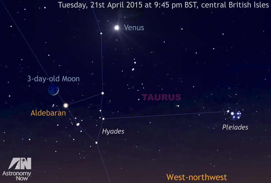 As dusk turns to dark on the evening of Tuesday, April 21st, the 3-day-old crescent Moon lies close above and to the left of Aldebaran in the head of Taurus with dazzling Venus nearby. A few hours earlier, the 12% illuminated lunar crescent occulted Aldebaran in daylight seen from the extreme northern tip of Scotland, but this close conjunction is visible throughout the British Isles after sunset. This view is about 20° wide, or the span of an outstretched hand at arm's length. The Moon (size slightly enlarged for clarity in this illustration), Aldebaran and the Hyades will all fit in the same low-power binocular field of view. AN illustration by Ade Ashford